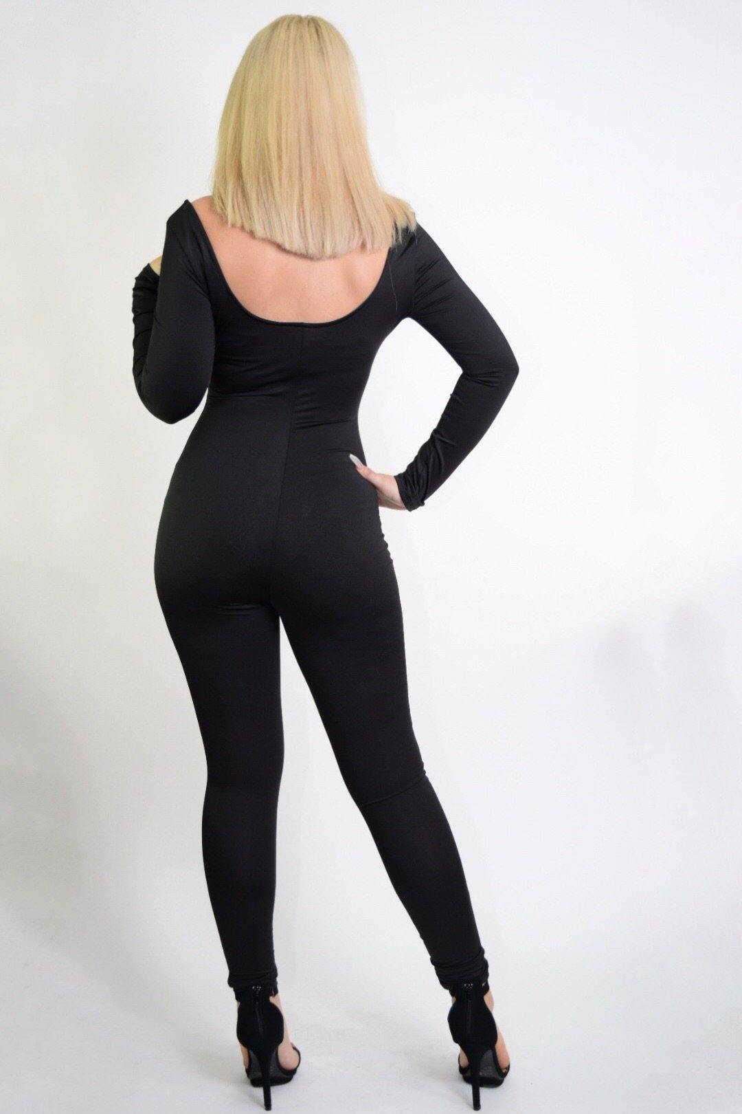 Alexandra Open Front Black Jumpsuit