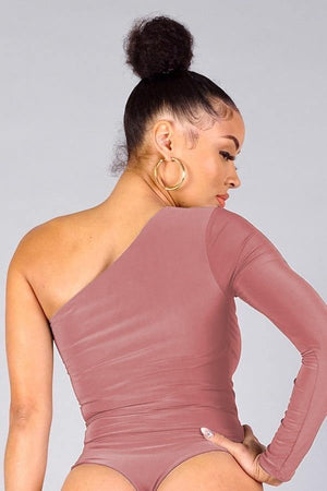 Dana, One shoulder mauve bodysuit