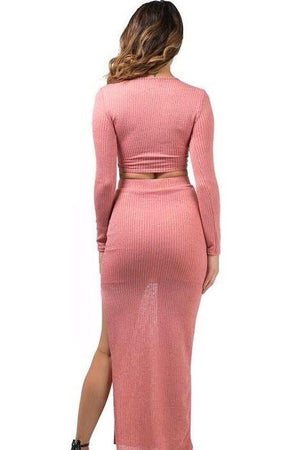 Kim, Salmon knitted set with cross front top and slit on long skirt
