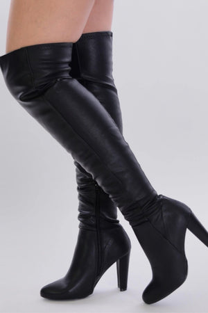 Amaya, Black Leather Thigh High Boots - Dimesi Boutique