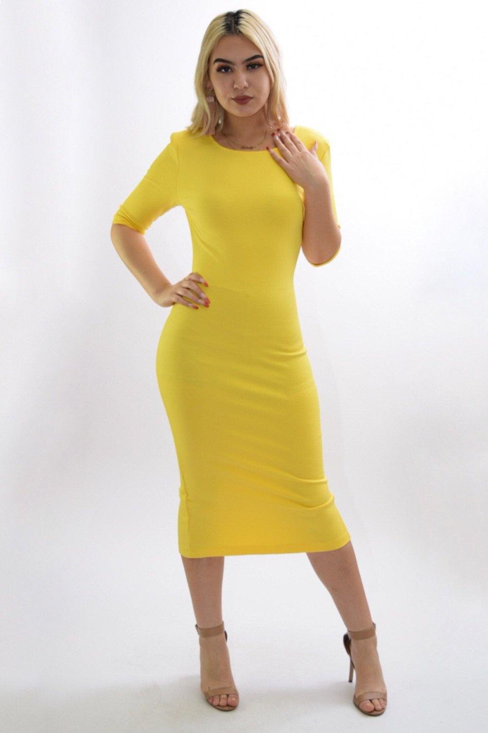 Stella yellow Classic middy dress
