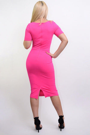 Jarrel hot pink bodycon midi dress - Dimesi Boutique