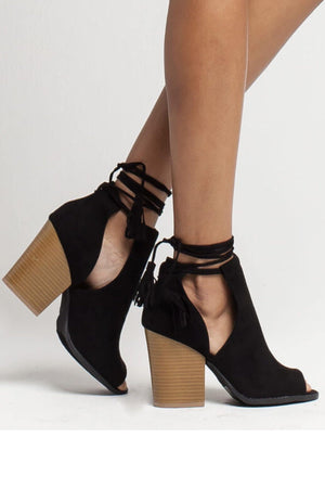 Barnes, Open toe Chunky Heels with ankle tie up - Dimesi Boutique