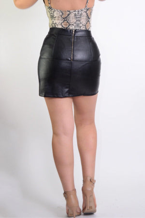 Barbara Black Leather Mini Skirt - Dimesi Boutique