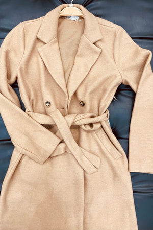 Carina, Faux wool double breasted belted coat
