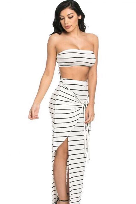 Abella 2 Piece, Striped White Maxi Set