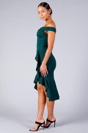Off shoulder mermaid midi dress - Dimesi Boutique