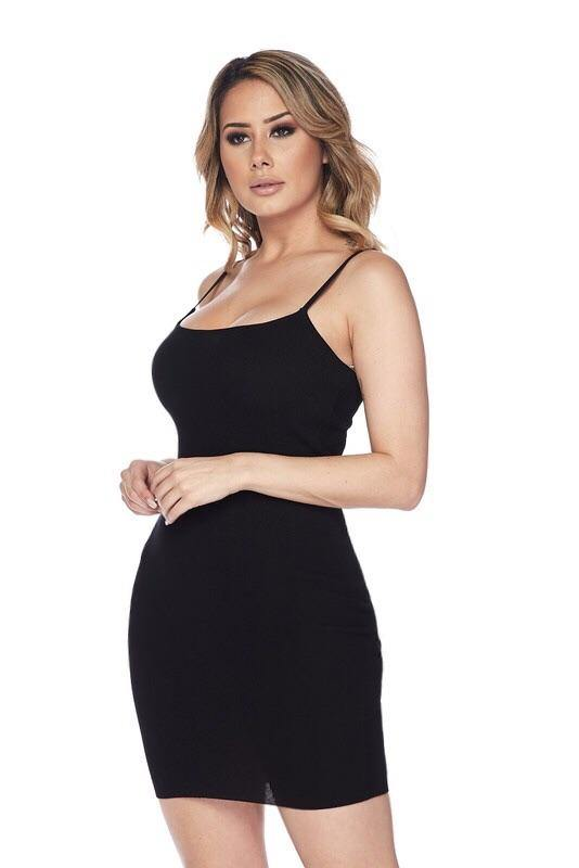 Giovanna Spaghetti Strap Black Dress