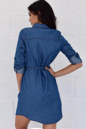 Denim dress with waist belt - Dimesi Boutique