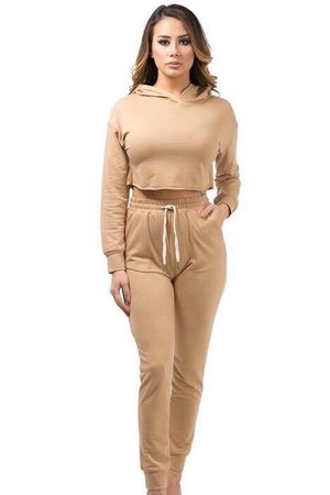 Kylie, Set with Crop Hoodie - Dimesi Boutique