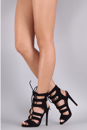 Glee, Black strappy heels - Dimesi Boutique