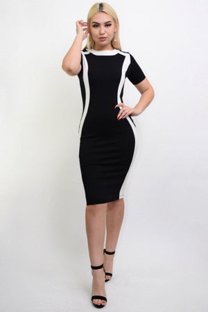 Rochi black-white dressy Midi dress - Dimesi Boutique