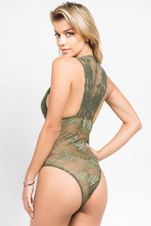 Katy olive all over lace bodysuit with plunge neckline