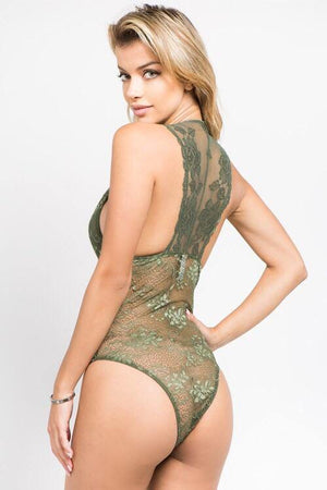 Katy, olive all over lace bodysuit with plunge neckline - Dimesi Boutique