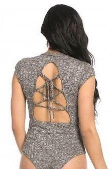 Abata Open Back Charcoal Short Sleeve Bodysuit