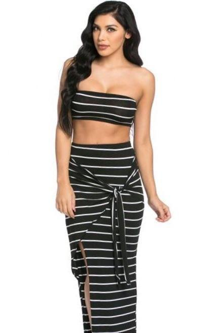 Abella 2 Piece, Striped Black Maxi Set
