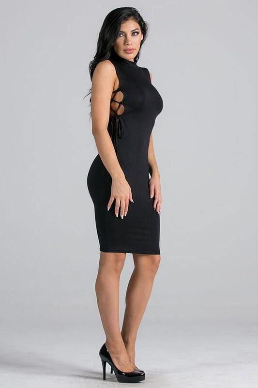 Marlene black dress open on the sides
