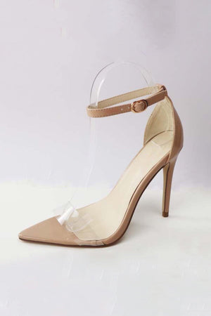 Pointed Clear band open toe heels with ankle strap - Dimesi Boutique