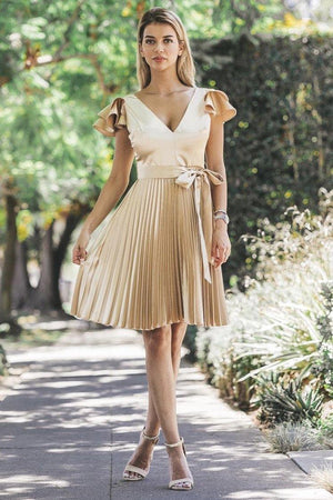 Chanel, Gold Pleated dress
