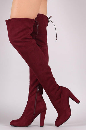 Amaya, Burgundy Thigh High Boots