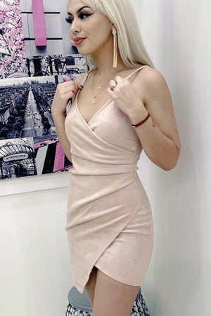Josie, Blush suede mini dress - Dimesi Boutique