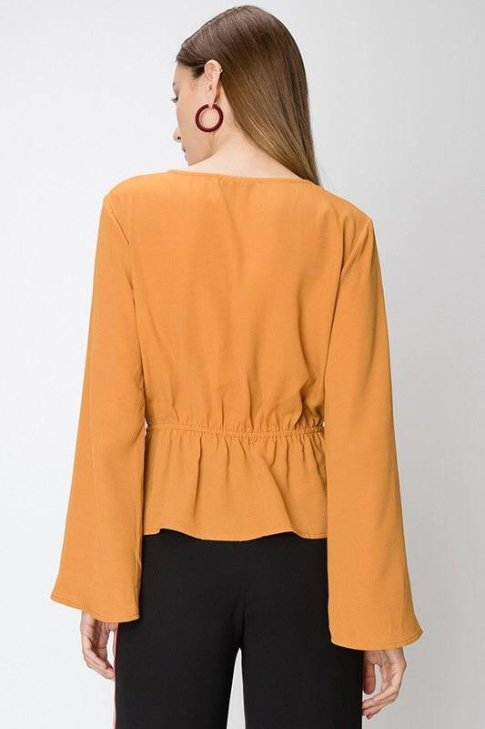 Ivana Cross Front Camel Blouse