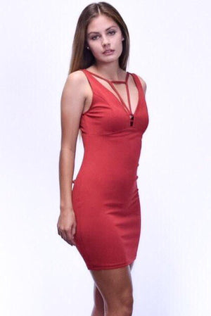 Abebi, Bodycon red dress with front strap detail - Dimesi Boutique