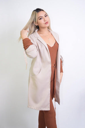 Priscilla, Long Sleeve Sand Coat