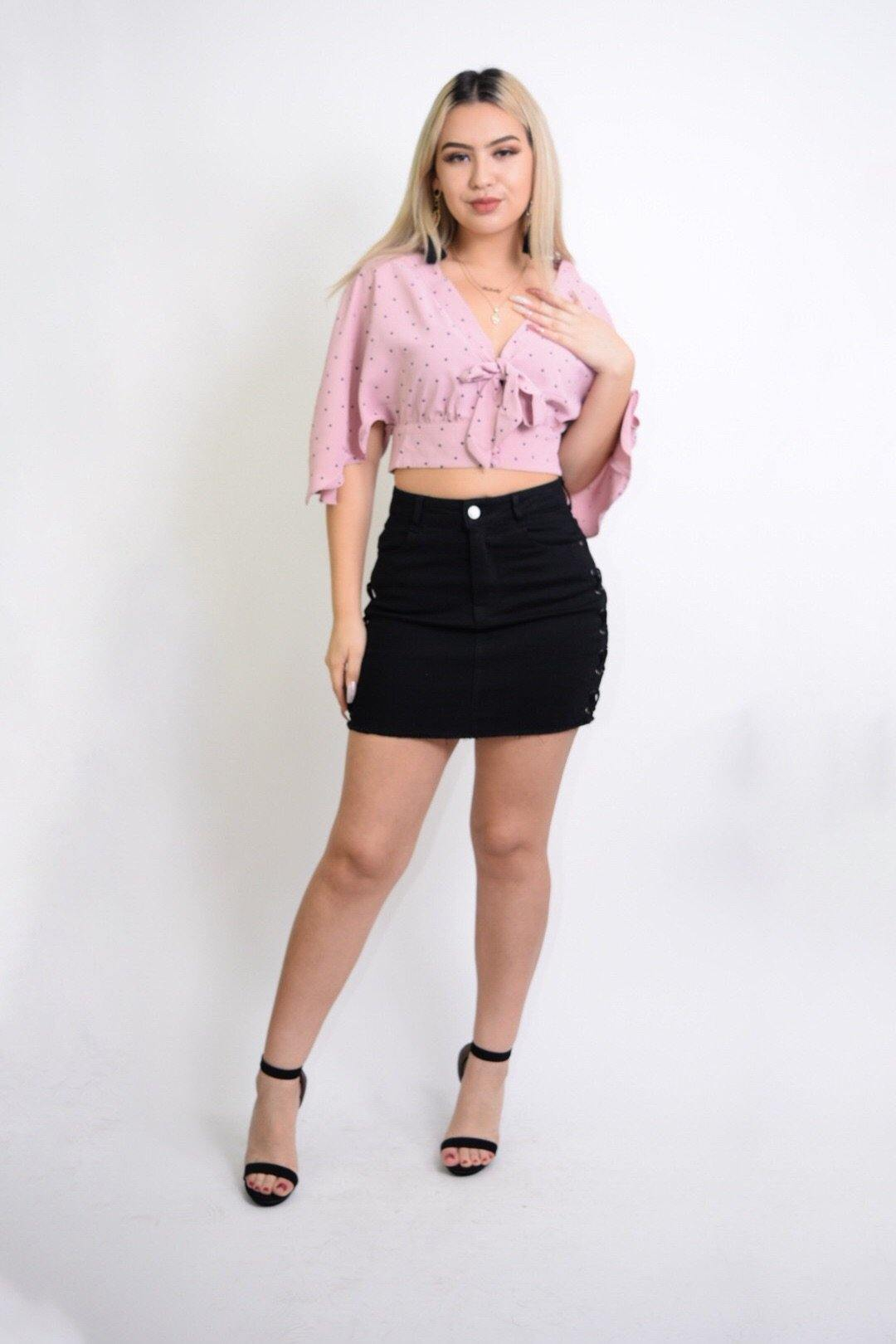 Celia Flared sleeves Pink Cropped Blouse