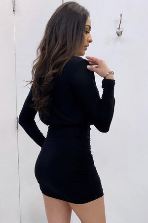 Ariana, Black dress with side shirring