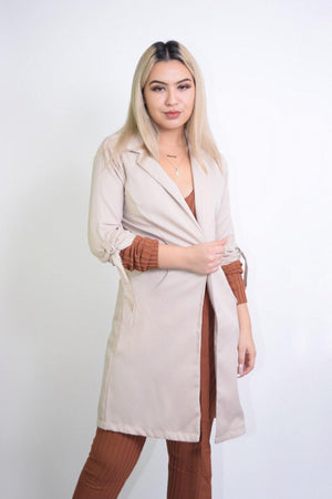 Priscilla, Long Sleeve Sand Coat - Dimesi Boutique