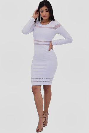 Angela, Long sleeve midi dress with mesh around