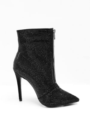 Black booties with shining stones - Dimesi Boutique
