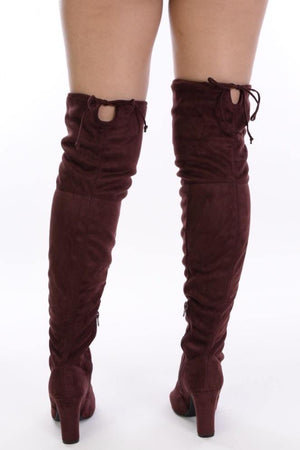 Amaya, Red brown Thigh High Boots