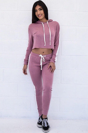 Avery, Set with hood crop top and leggings - Dimesi Boutique