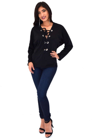 Melia, Black Sweatshirt - Dimesi Boutique