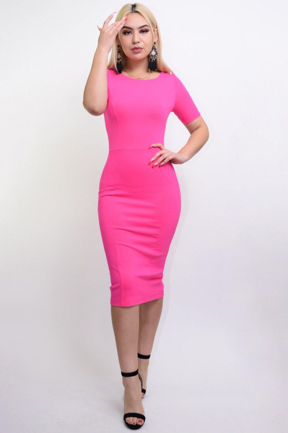 Jarrel hot pink bodycon middy dress