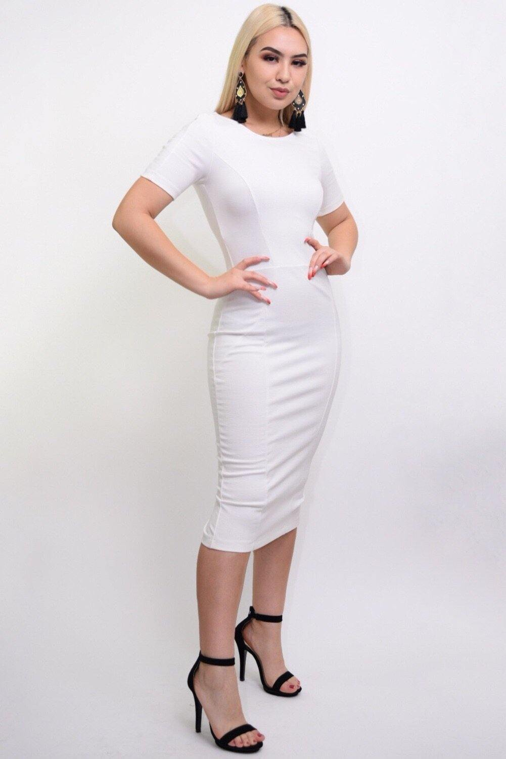 Jarrel white bodycon middy dress