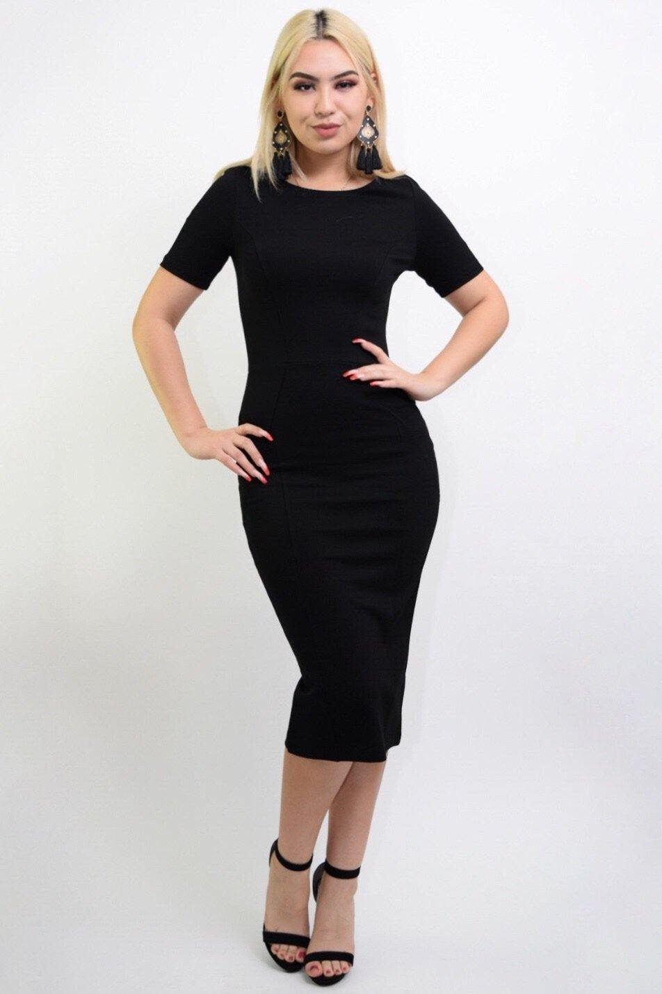 Jarrel black bodycon middy dress