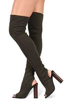 Connie, Olive Knee high Boots - Dimesi Boutique