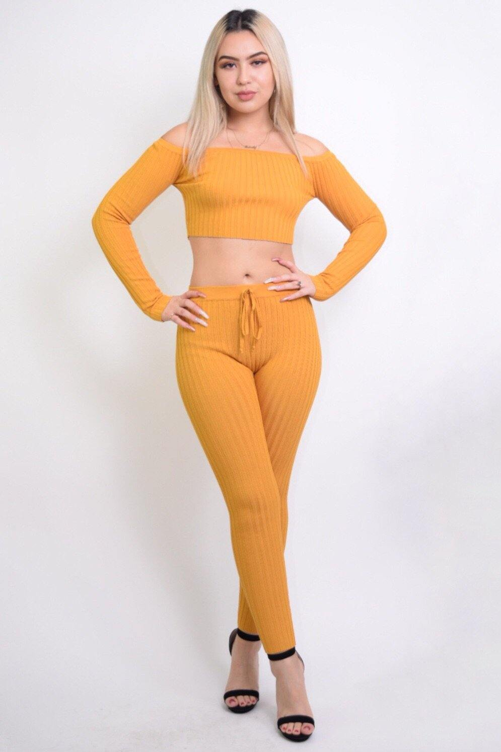 Maya Sexy Mustard 2 Piece Knitted Set