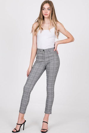 Sandy, Grey plaid pants - Dimesi Boutique