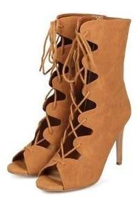 Pudina nubuck tan peep toe gladiator lace up heels