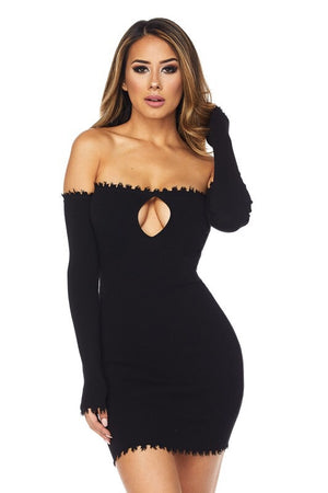 Carli, Off the shoulder dress with distressed seam details - Dimesi Boutique