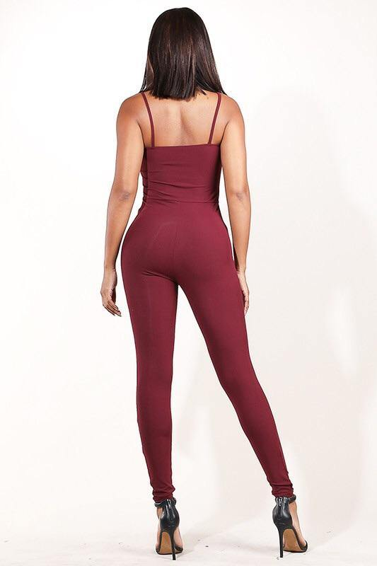 Amara Burgundy Stretch Ribbed Jumpsuit