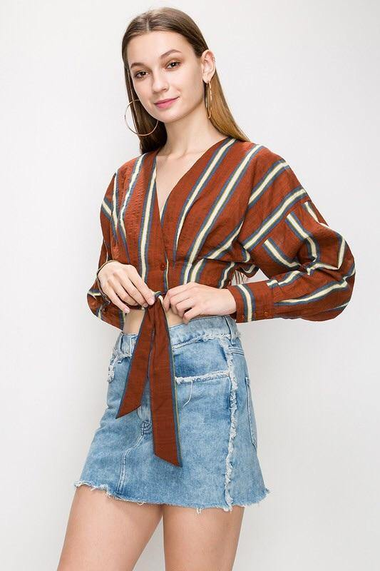 Berenice Stripped Rust Blouse