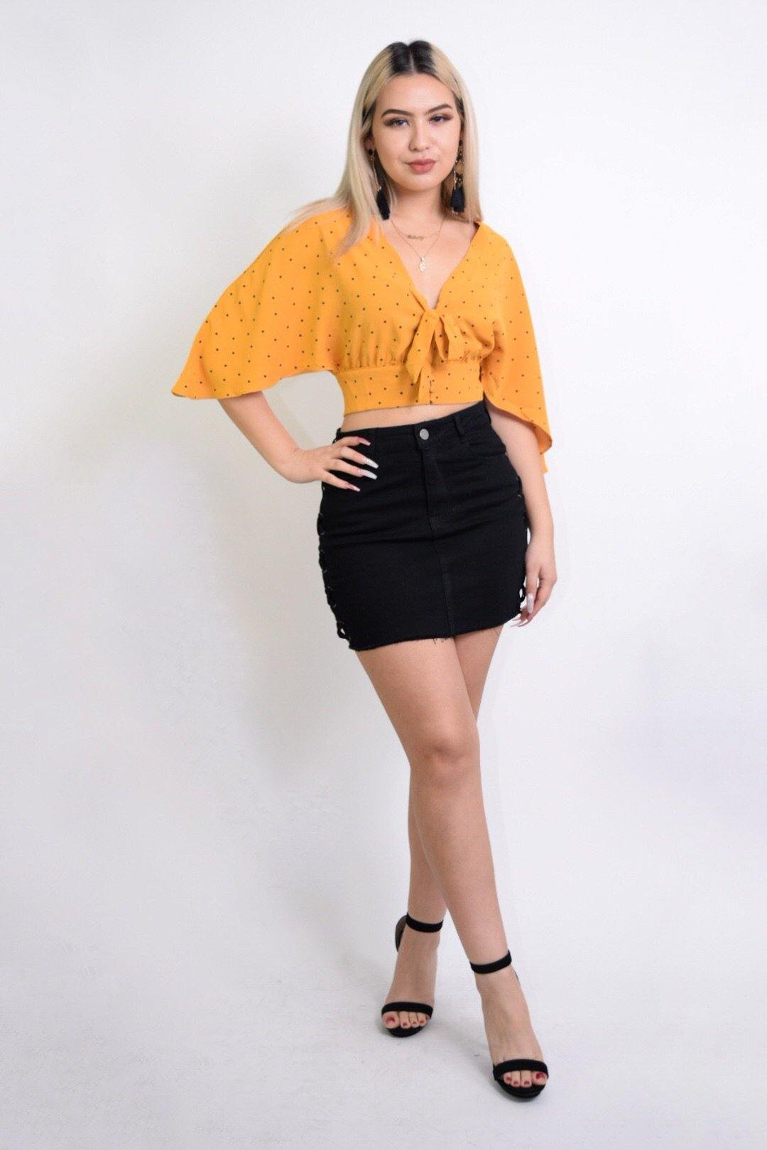 Celia Flared sleeves Mustard Cropped Blouse
