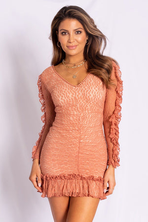 Lace dress with ruffle detail - Dimesi Boutique