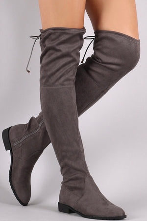 Thigh high flat grey boots - Dimesi Boutique