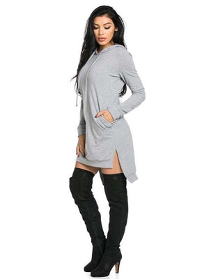 Mia, Sweater dress with hoodie